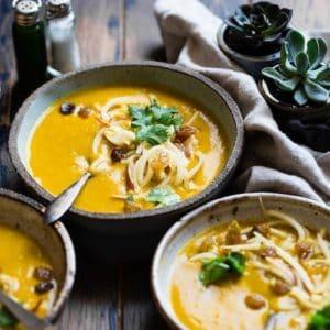 Cozy bowl of autumn squash soup