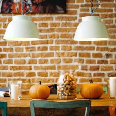 Family Thanksgiving Table with pumpkins