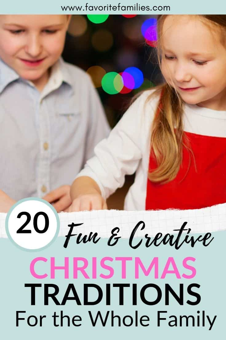 two kids decorating cookies with text overlay 20 fun & creative Christmas Tradition for the Whole Family