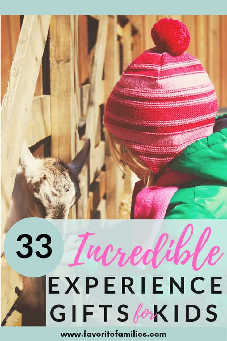 Child at petting zoo with text overlay 33 incredible experience gifts for kids