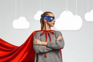 Mom wearing superhero cape