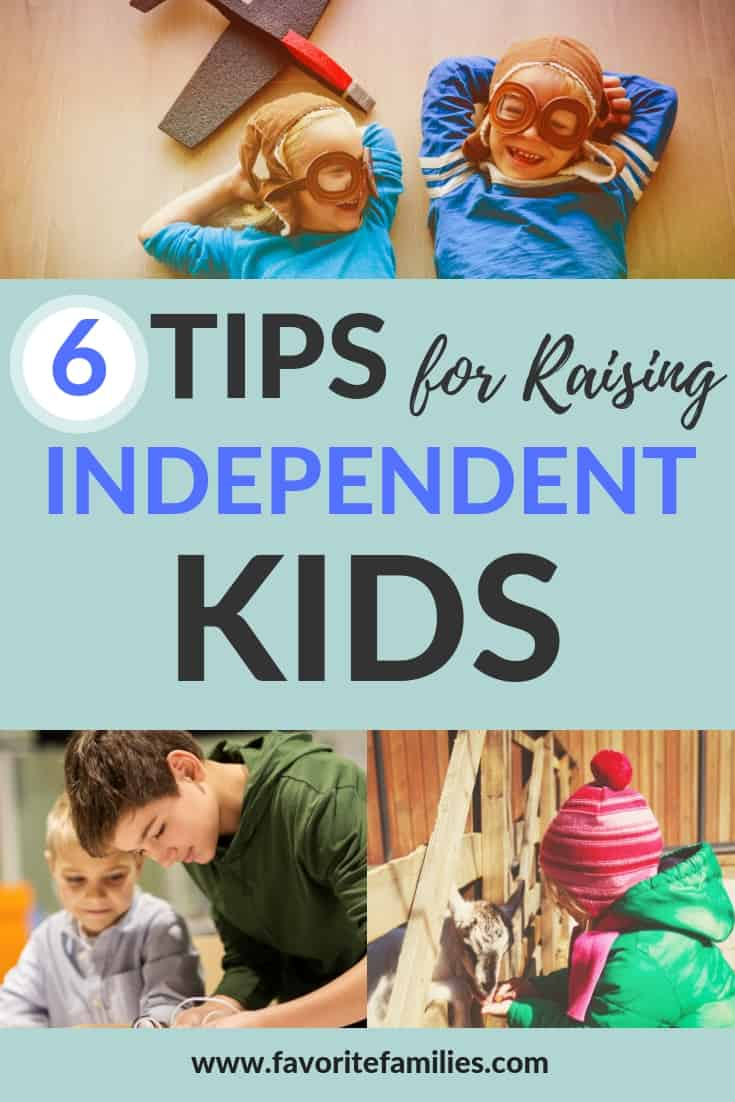 Kids playing with text overlay 6 tips for raising independent kids