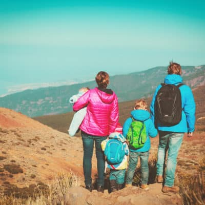 family with kids traveling