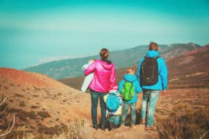 Family traveling with young children