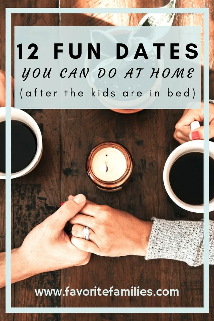 married couple holding hands text overlay 12 fun dates you can do at home after the kids are in bed
