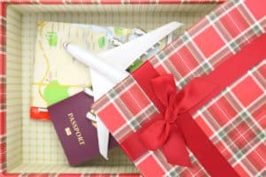 travel gift wrapped in a box