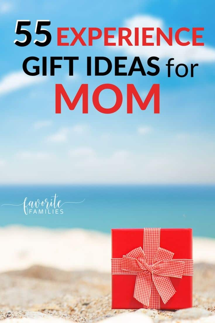 red gift box on beach with text overlay 55 experience gift ideas for mom