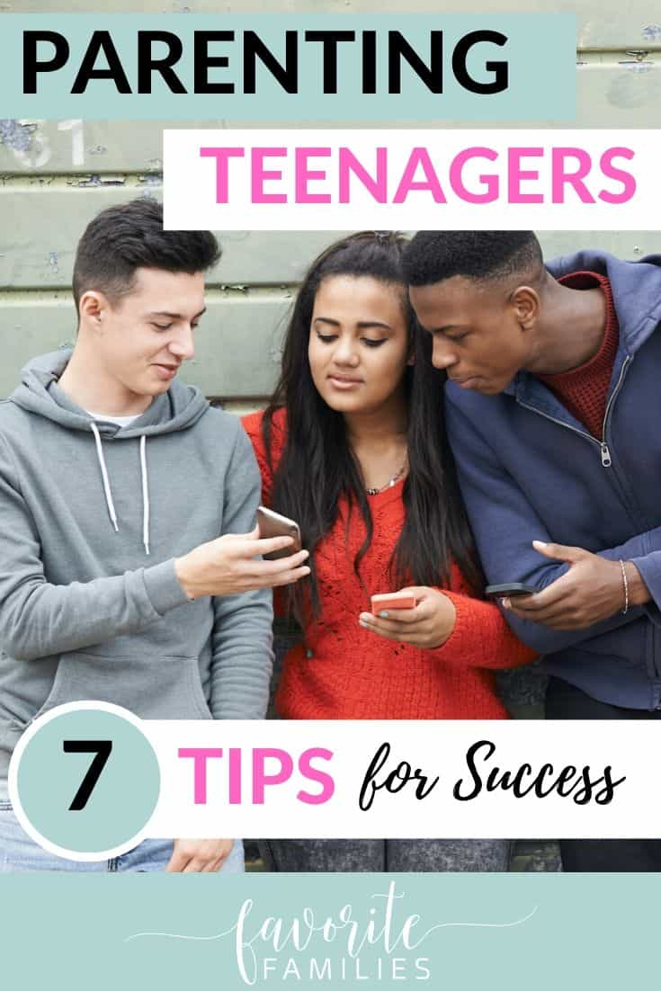 teens looking at phones with text overlay parentiing teenagers 7 tips for success