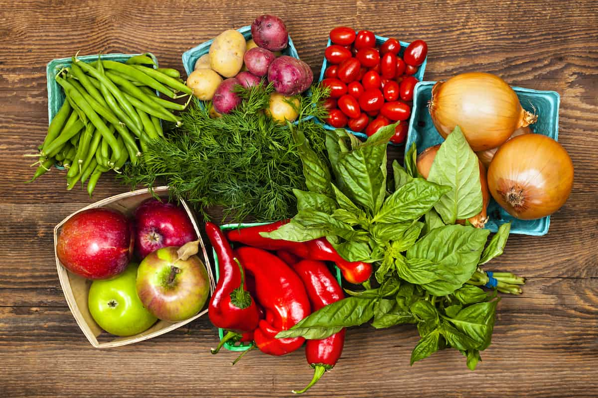 Fresh farmers market fruit and vegetable produce