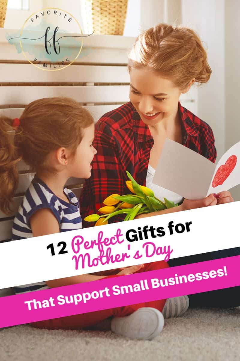 little girl giving flowers and card to mom with text overlay 12 Perfect Gifts for Mother's Day