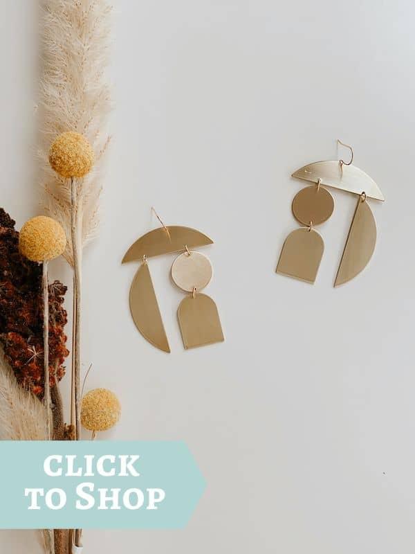 gold filled geometric shape earrings by Oceanne