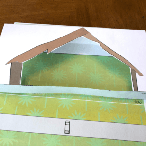 printable nativity scene gluing shed on page
