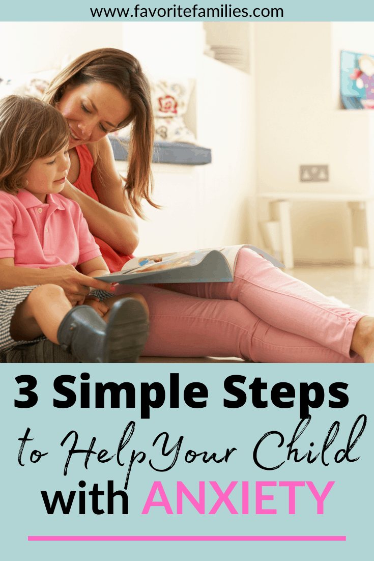 Mom reading a book to her son with text overlay 3 simple steps to help your child with anxiety