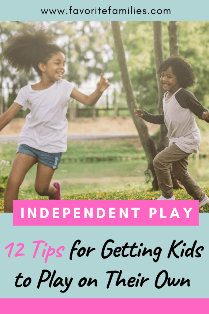 kids playing in the grass with text overlay independent play